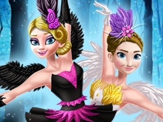 Elsa and Anna Black and White Swan