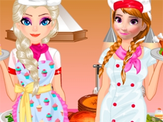 Elsa and Anna Cooking